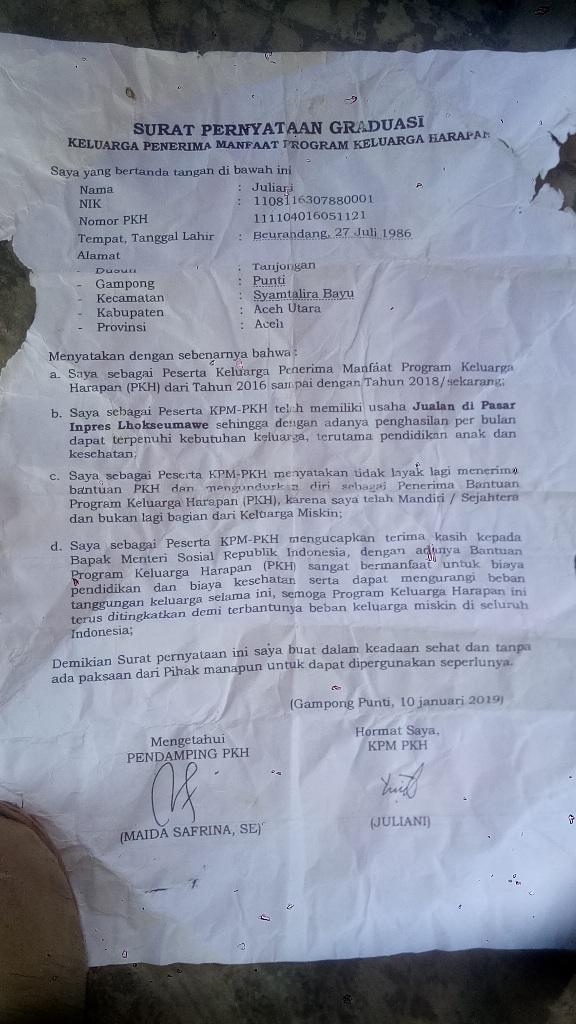Penerima Dana PKH di Syamtalira Bayu Diblokir, Diduga Ada Oknum Gelapkan Dana PKH