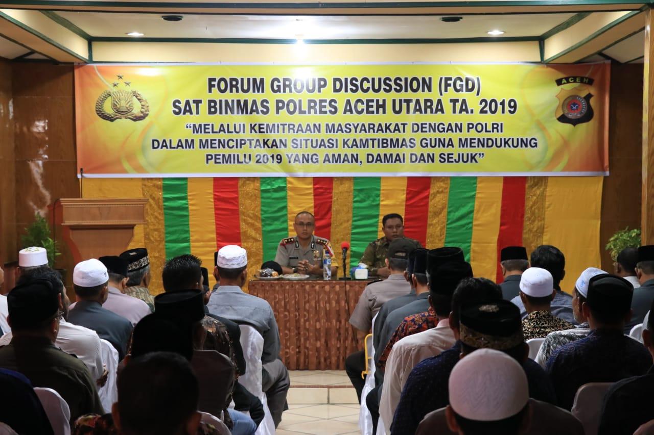 Sukseskan Pemilu 2019, Polres Aceh Utara Gelar Focus Group Discussion