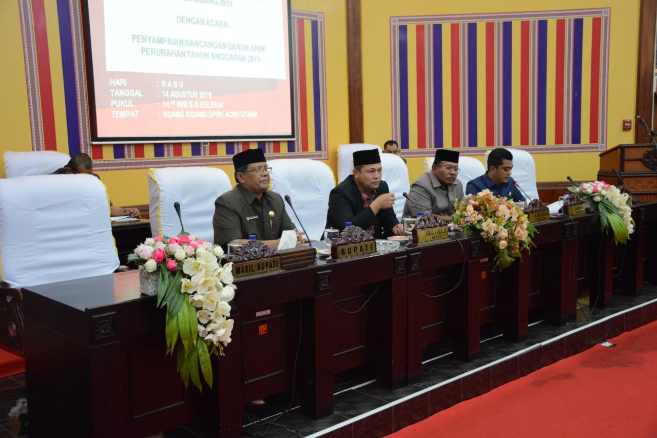 Pemkab Aceh Utara Sampaikan Raqan APBK Perubahan Tahun 2019