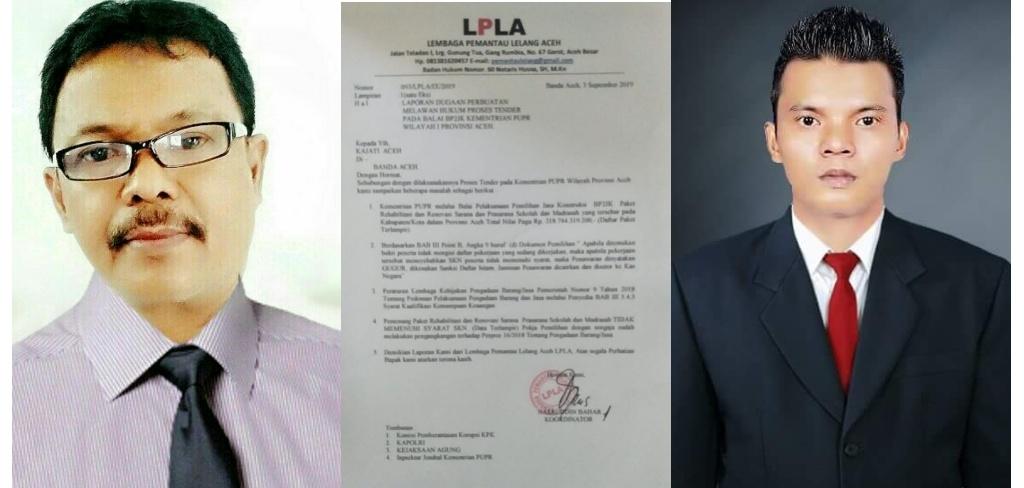 LPLA Laporkan Kepala BP2JK Kementerian PUPR Wilayah I Aceh ke Kejati dan Polda Aceh