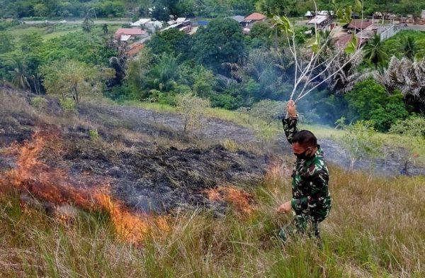 Lahan Ilalang Seluas Dua Hektar di Bukit Goa Jepang Lhokseumawe Terbakar