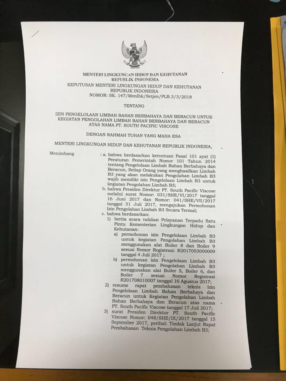 Kerap Dituding Biang Pencemaran Lingkungan, PT SPV Dapat SK dari KLHK
