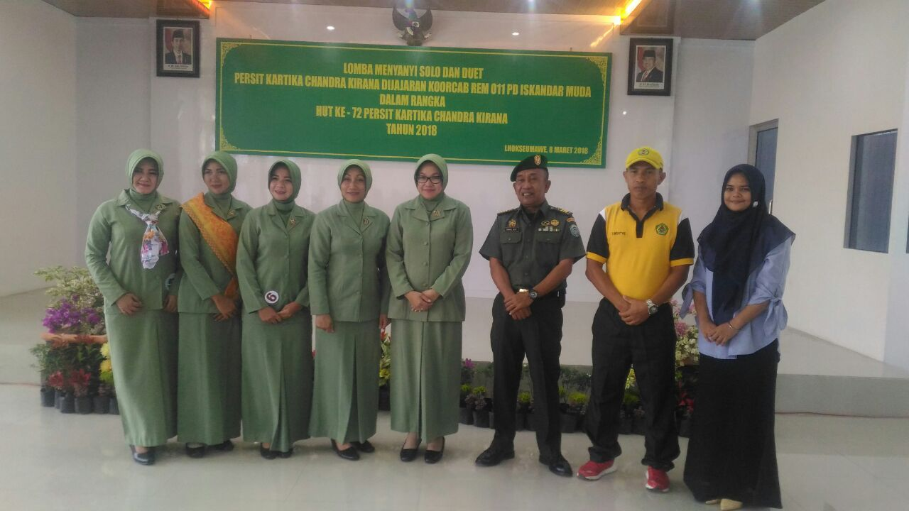 Kodim 0103 Aceh Utara Juarai Lomba Nyanyi HUT Persit ke-72 Kartika Chandra Kirana