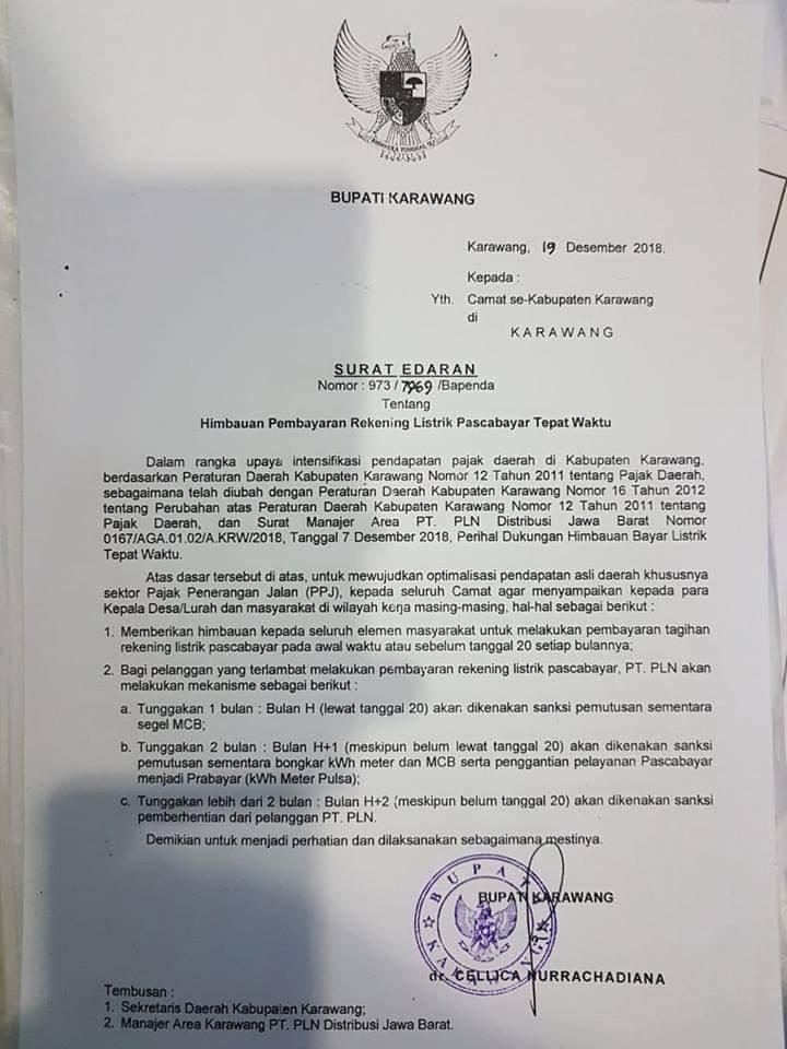 LPKSM Satria: SE Bupati Karawang soal Pembayaran Rekening Listrik Langgar UU Perlindungan Konsumen
