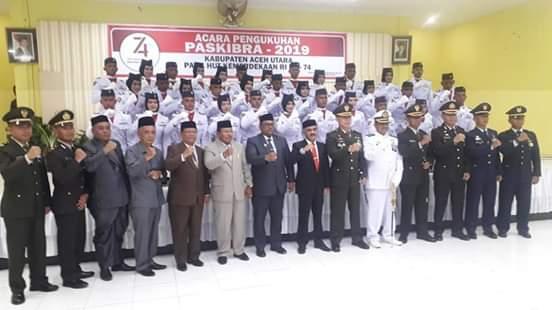 Bupati Aceh Utara Kukuhkan 35 Anggota Paskibraka HUT Kemerdekaan RI ke-74